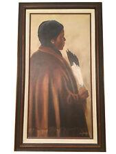Original Native American Girl Oil Painting on Canvas by Joan Buckles  - Nebraska