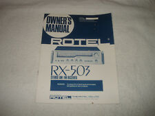 Rotel RX-503 Stereo Receiver Owners Manual 18 Pages combined languages
