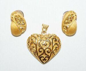 3Pc Thai 24k Yellow Gold Earrings &18k Y.G. Matching Heart Pendant (SaR)#341