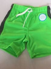Carter Gym Shorts Toddler Neon Green W/ GrayStripe On Leg Size 18 M Nwt