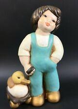 Thun Junge mit Ente Bozner Figur Keramik Todler Duck Italy Pottery 22cm 9CT1