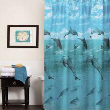 "Dolphins in the Ocean Print Fabric Bathroom Shower Curtain 70"" x 72"""