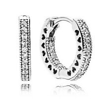 Earrings, 925 Silver, Clear Cz #296317Cz New! Authentic Hearts of Pandora Hoop
