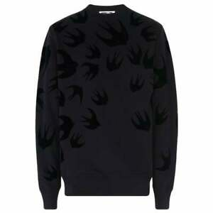 M C Q MEN  Swallow .. print  Sweatshirt  Black Black  % 100  cotton