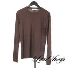 Emporio Armani Made in Italy Cocoa Brown Jersey Stretch Wool Crewneck Shirt L NR