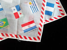 Vintage 60's  Nations of Flags Handkerchief in Spanish  Latin Countries Cotton