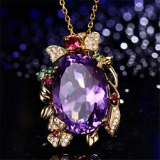 Solid 18k Yellow  Amethyst 15.70ct And 0.26CT Diamond Fine Engagement Pendant