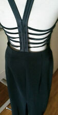 Vintage black fitted long  cut out caged open  back prom dress gown 14 L  XL