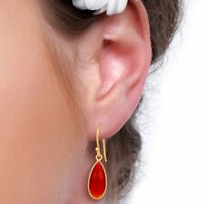 Red Onyx Womens Dangle Fashion Earrings 925 Silver Gemstone Jewelry
