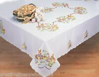 "Easter Bunny Egg White 68x84"" Spring Fabric Tablecloth Creative Linens 3284"