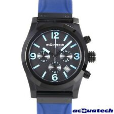ACQUATECH GENTS MENS BLUE RUBBER & STAINLESS STEEL CHRONOGRAPH WATCH MOD csbnrnl