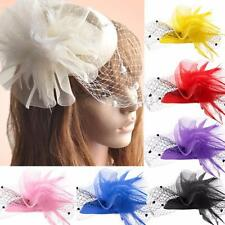 Women Handmade Hair Clip Accessory Wedding Fascinator Veil Pillbox Hat Feather