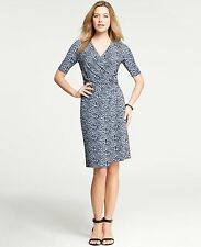 NWT Ann Taylor Petite Flecked Print Ruched Wrap Dress SP