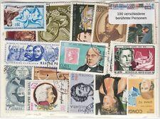 100 verschiedene Briefmarken mit berühmten  Personen , Persönlichkeiten