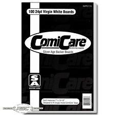 """100 - ComiCare Silver Age 24pt Bright White Comic Backer Boards - 7"""" x 10-1/2"""""""