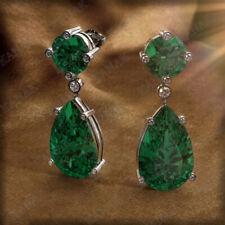 2.50 Ct Emerald & Diamond Cluster Earrings 14k White Gold