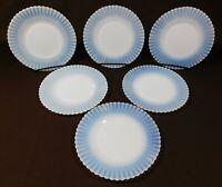 "Set of 6 Macbeth Evans Petalware Monax White Opalescent 6.25"" Dessert Plates"