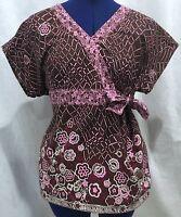 Barco Medium Scrub Top Floral Brown Pink M Graphic Medical Uniform Shirt V Neck