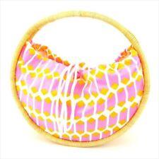 Kate Spade Bag HandBag Pink yellow Canvas rattan Authentic Used C3356