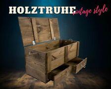 Dunkelbraue Holzkiste mit Deckel und zwei Schubladen, zur Aufbewahrung, neu DIY