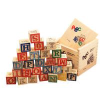 27pcs Wooden ABC Alphabet Numbers Cube Blocks Building Bricks Kids Baby Toys Set