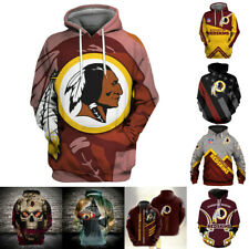 Washington Redskins Hoodies Hooded Sweatshirts Men's Casual Jacket Pullover Coat