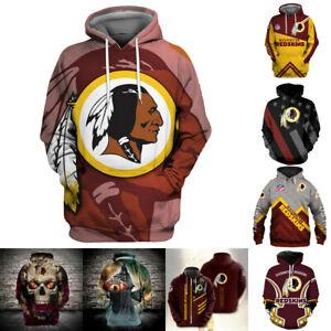 Washington Redskins Hoodies Hooded Sweatshirts Men's Casual Jacket Pullover Coat