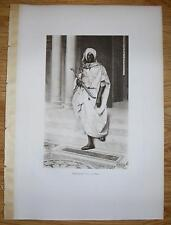 ANTIQUE CHIEFTAN COMMANDER AFRICA AFRICAN MAN COSTUME SWORD ARCHITECTURE PRINT