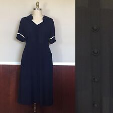 Vintage 1940s Plus Size Navy Dress 35 Inches