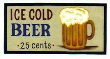 """4.5x10""""   Ice Cold Beer wood Man Cave Game Room Breweriana Home Bar Decor Sign"""