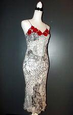 RENE DERHY ROBE  DRESS BAROQUE DECOLLETé RELIEF ROSES TS 36/38