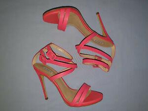 Size 10 SIREN Leather High Heels Sandal Watermelon Pink Colour