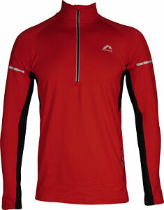 More Mile Alaska 2 Mens Thermal Running Top Red Half Zip Long Sleeve Run Jersey