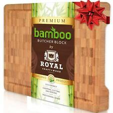 Thick Bamboo Wood Cutting Board/Kitchen Butcher Block - Heavy Duty Chopping With