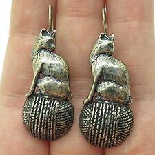 Vtg 925 Sterling Silver Cat Earrings