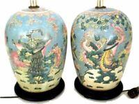 Two Vintage Chinese Ginger Jar Lamps Macau Famille Verte Converted Vase Lights