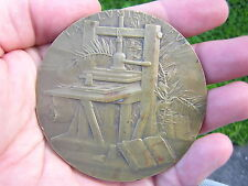 RARE FRENCH BRONZE GUTENBERG MEDAL MEDALLION INVENTOR OF THE PRINTING PRESS
