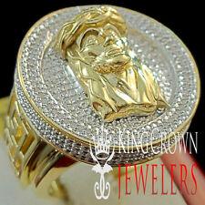Mens Genuine Diamond Pinky Ring Jesus Face 3D Medallion Circle Top Pave Band