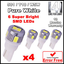 4 x 6 SMD LED Pure White LED 501 T10 W5W Number Plate Light Bulb - SUPER BRIGHT