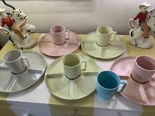Gothamware vintage picnic Dishes set speckled divided Plates Mugs cups 1950s 60s