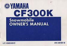 1986 YAMAHA SNOWMOBILE CF300K OWNERS MANUAL 12628-00-81 (344)