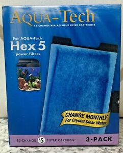 AquaTech HEX 5 #5 Aquarium Replacement Filter Cartridge 3 Pack EZ Change