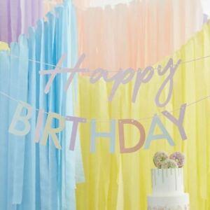 Rainbow Happy Birthday Bunting | Pastel Party Garland Banner Decoration