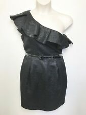 CUE IN THE CITY METALLIC PATTERN BELTED ONE RUFFLE SHOULDER COCKTAIL DRESS SZ 14