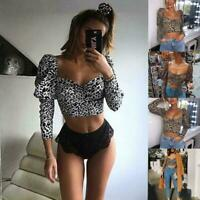 Women's Leopard Square Neck Crop Tops Long Sleeve Club Party Small Slim Tub V1S4