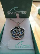 STUNNING PAUA SHELL 'TIDE' JEWELLERY ROSE FLOWER PENDANT NECKLACE GIFT BOXED +FP