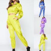 Femmes 2PCS Survêtement Ensemble Manches Longues Sweat Pantalon Costume de Sport