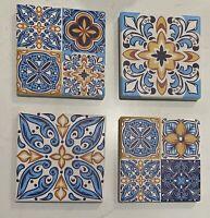 4 X High Quality Ceramic Square Santorini Bohemian Boho Coasters Non Slip
