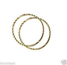 9ct Gold 22mm LARGE Diamond Cut Hinged Hoop SLEEPER EARRINGS PAIR Mum's GIFT BOX