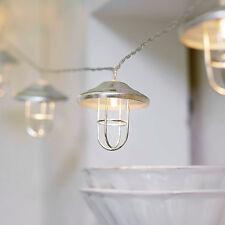LED Laternen Lichterkette Metall silber Fischermanns Leuchte Batterie Innen